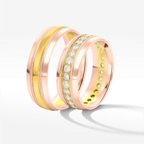 Obrączki ślubne z dwukolorowego złota 6.5mm półokrągłe