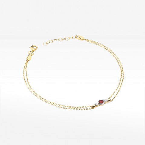 Bransoletka ze złota z brylantami i rubinem