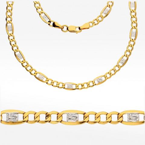 Dwukolorowy łańcuszek ze złota 60cm Figaro