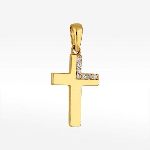 Zawieszka ze złota krzyż z cyrkoniami