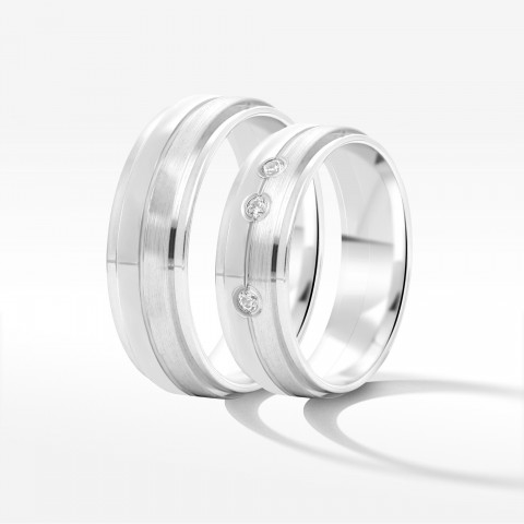 Obrączki ślubne z białego złota 6mm fazowane