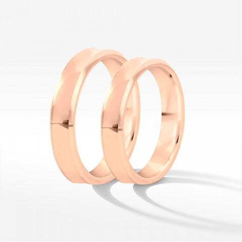 Obrączki ślubne z różowego złota 4mm wklęsłe