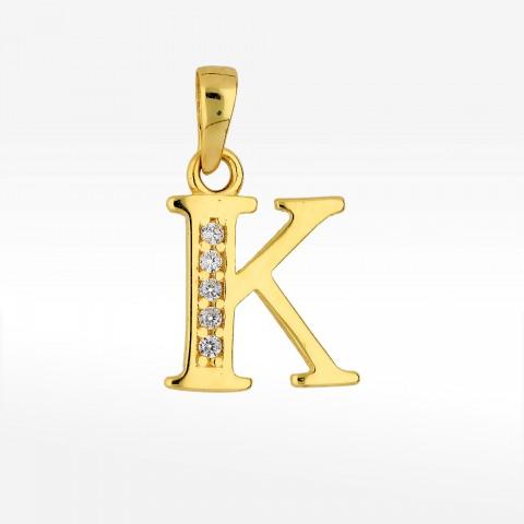 Zawieszka ze złota literka K z cyrkoniami