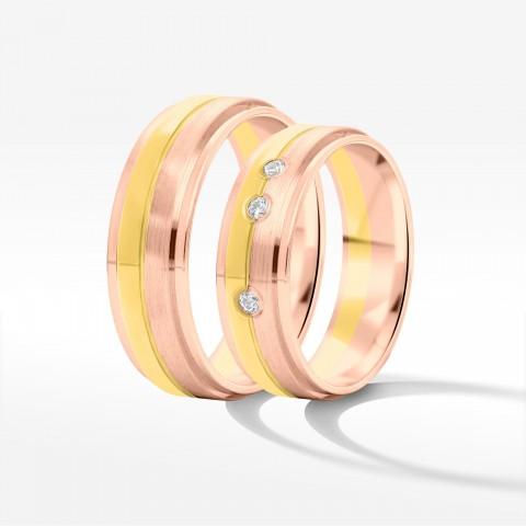 Obrączki ślubne z dwukolorowego złota 6mm fazowane