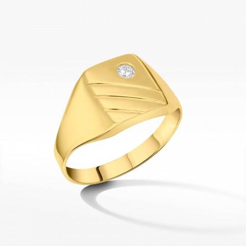 Sygnet ze złota z cyrkonią