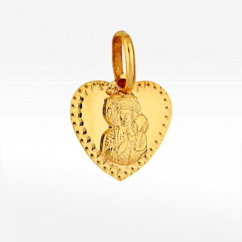 Zawieszka ze złota medalik w kształcie serca