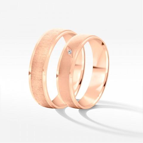 Obrączki ślubne z różowego złota 5.5mm fazowane