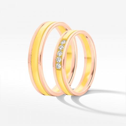 Obrączki ślubne z dwukolorowego złota 4mm płaskie