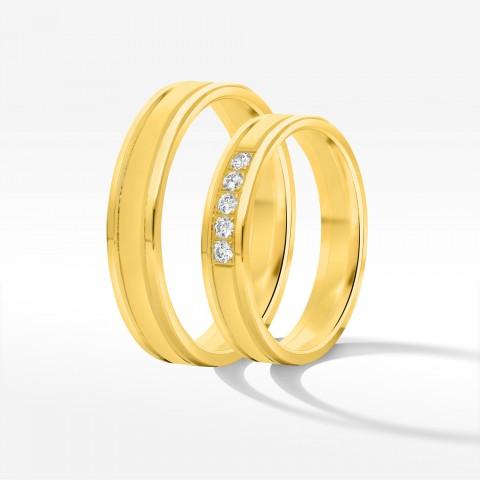 Obrączki ślubne z żółtego złota 4mm płaskie