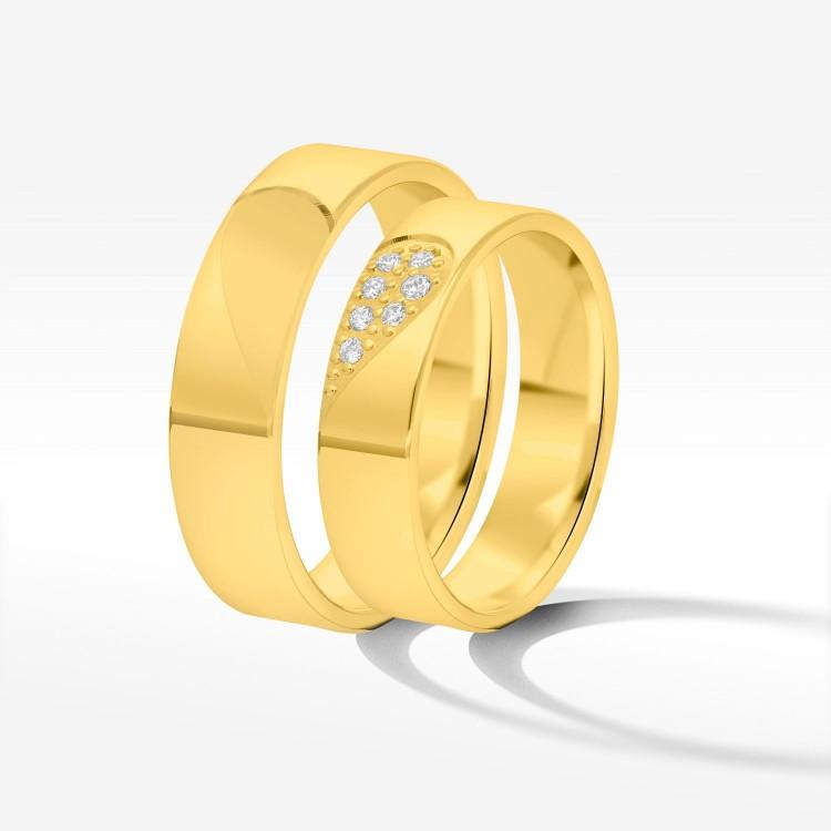 Obrączki ślubne z żółtego złota 5mm płaskie