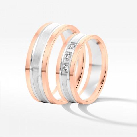 Obrączki ślubne z dwukolorowego złota 6mm płaskie