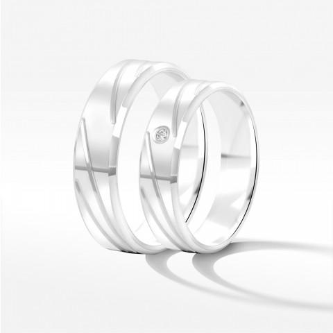 Obrączki ślubne z białego złota 5mm fazowane