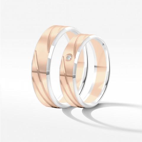 Obrączki ślubne z dwukolorowego złota 5mm fazowane