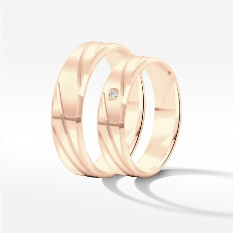 Obrączki ślubne z różowego złota 5mm fazowane