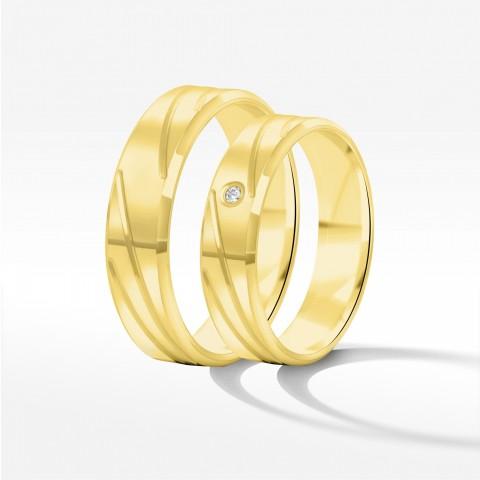 Obrączki ślubne z żołtego złota 5mm fazowane