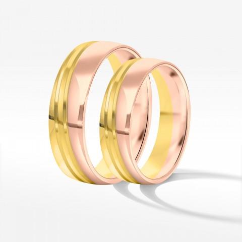 Obrączki ślubne z dwukolorowego złota 5.5mm półokrągłe