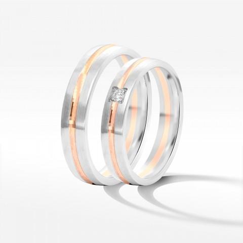 Obrączki ślubne z dwukolorowego złota 4mm półokrągłe