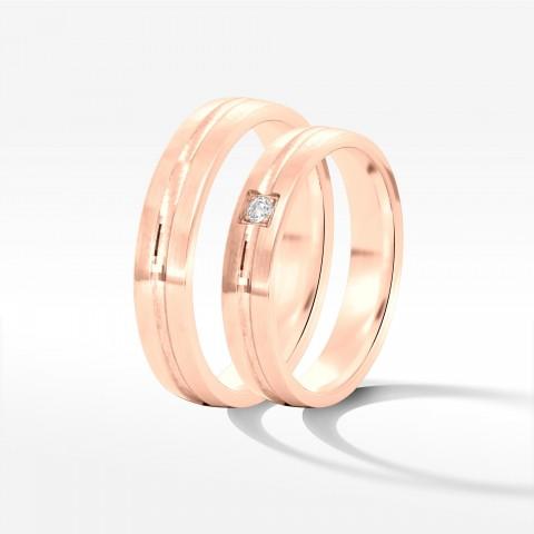 Obrączki ślubne z różowego złota 4mm półokrągłe